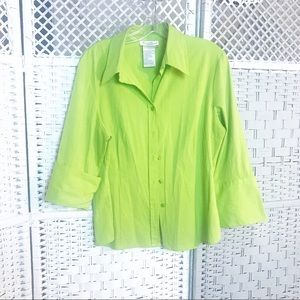 Fred David stretch blouse lime green women top 14
